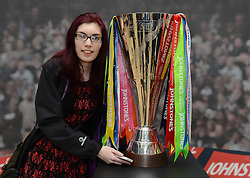 A Bristol City fan with the trophy - Photo mandatory by-line: Dougie Allward/JMP - Mobile: 07966 386802 - 11/03/2015 - SPORT - Football - Bristol - Cabot Circus Shopping Centre - Johnstone's Paint Trophy