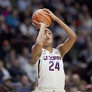 UNCASVILLE, CONNECTICUT- DECEMBER 4:  Napheesa Collier #24 of the Connecticut Huskies in action during the UConn Huskies Vs Texas Longhorns, NCAA Women's Basketball game in the Jimmy V Classic on December 4th, 2016 at the Mohegan Sun Arena, Uncasville, Connecticut. (Photo by Tim Clayton/Corbis via Getty Images)