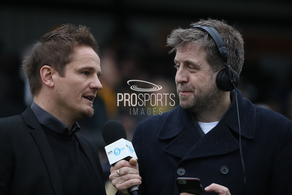 AFC Wimbledon manager Neal Ardley and Mark Chapman during The FA Cup match between Sutton United and AFC Wimbledon at Gander Green Lane, Sutton, United Kingdom on 7 January 2017. Photo by Stuart Butcher.