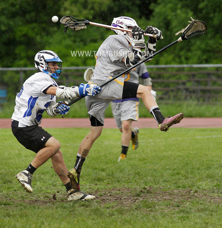 Valley Central's Brenden Shust, left, knocks the ball from Warwick's Nick Daigle before Daigle can take a shot during a Section 9 Class A semifinal game in Montgomery on Friday, May 24, 2013.