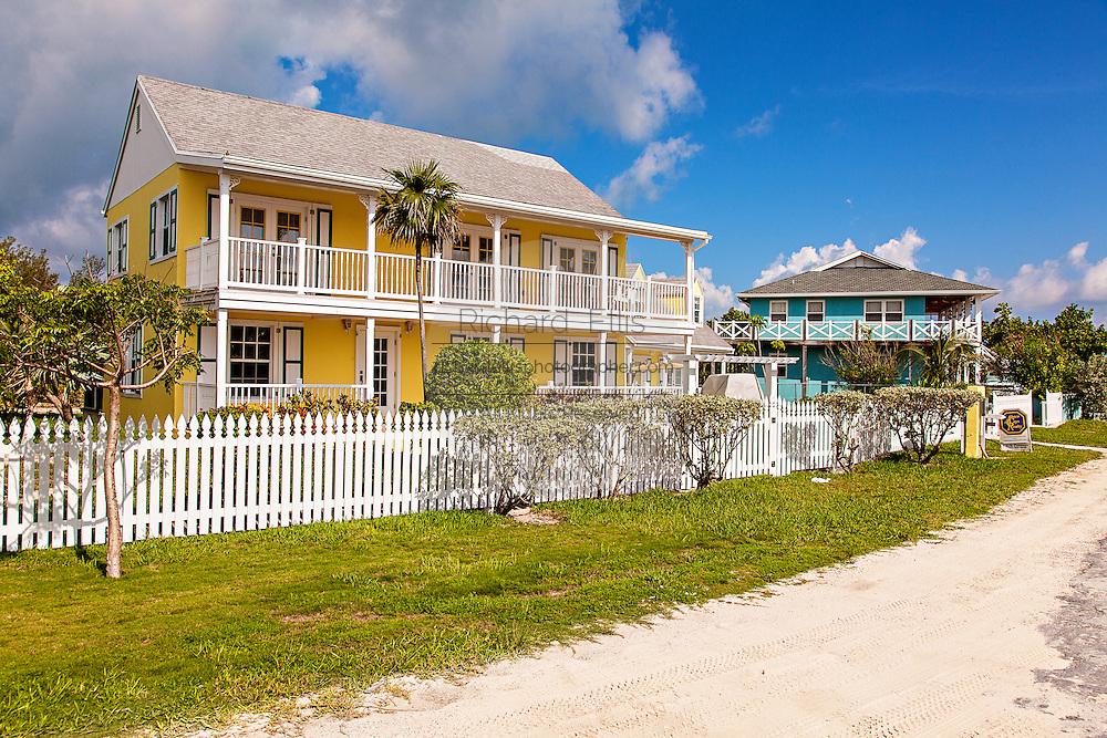 Pastel colored homes at Green Turtle Cay, Bahamas.