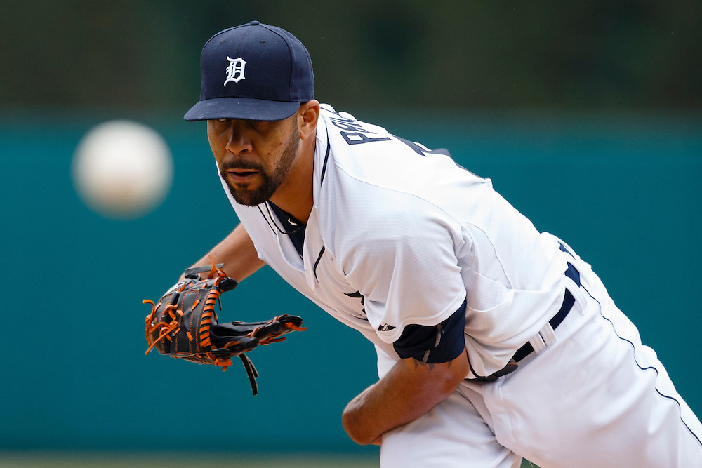 Apr 6, 2015; Detroit, MI, USA; Detroit Tigers starting pitcher David Price (14) warms up before the first inning against the Minnesota Twins at Comerica Park. Mandatory Credit: Rick Osentoski-USA TODAY Sports