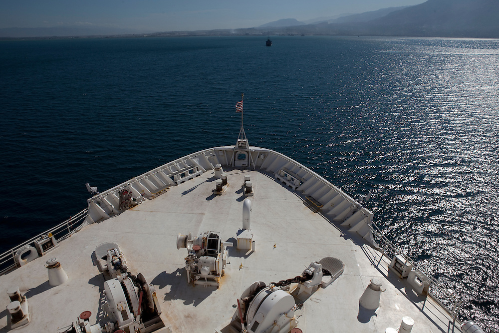 The USNS Comfort, a U.S. Naval hospital ship, is anchored just off shore on January 21, 2010 in Port-au-Prince, Haiti. The Comfort deployed from Baltimore with 550 medical personnel on board to treat victims of Haiti's recent earthquake, and arrived on January 20.
