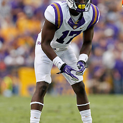 October 22, 2011; Baton Rouge, LA, USA; LSU Tigers cornerback Morris Claiborne (17) against the Auburn Tigers during the second half at Tiger Stadium. LSU defeated Auburn 45-10. Mandatory Credit: Derick E. Hingle-US PRESSWIRE / © Derick E. Hingle 2011