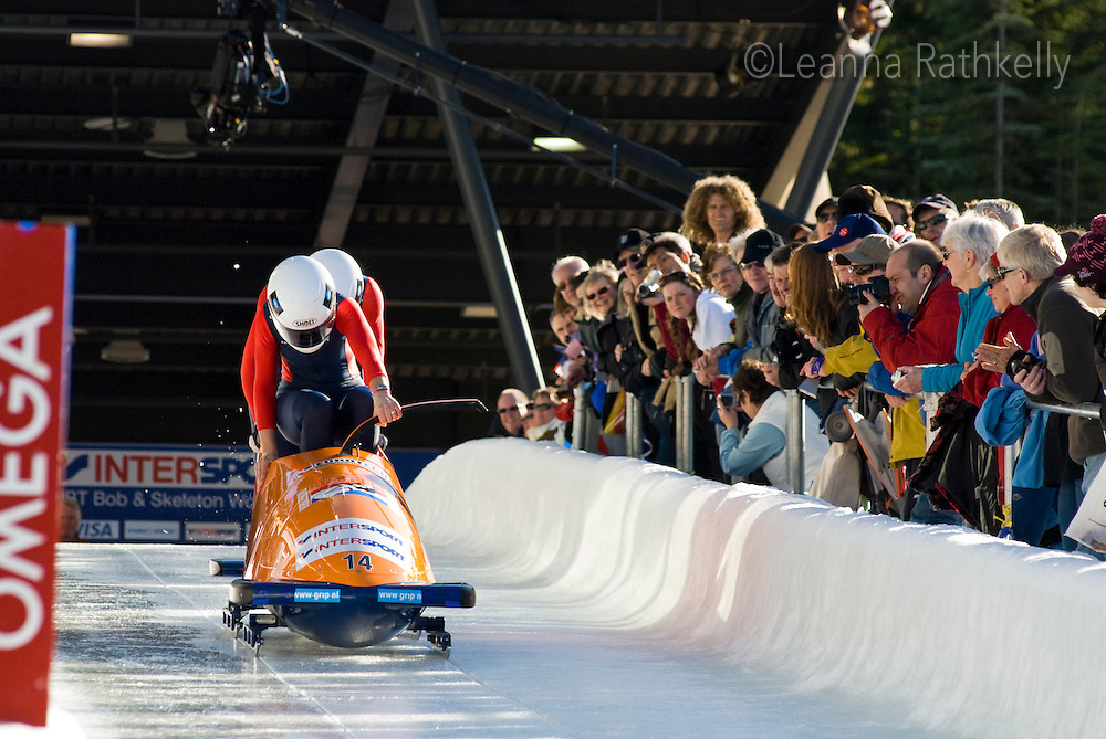 The Nederlands team of Esme Kamphuis and Tine Veenstra compete in the World Cup Womens' Bobsleigh Competition held at the Whistler Sliding Centre on Feb 6, 2009.