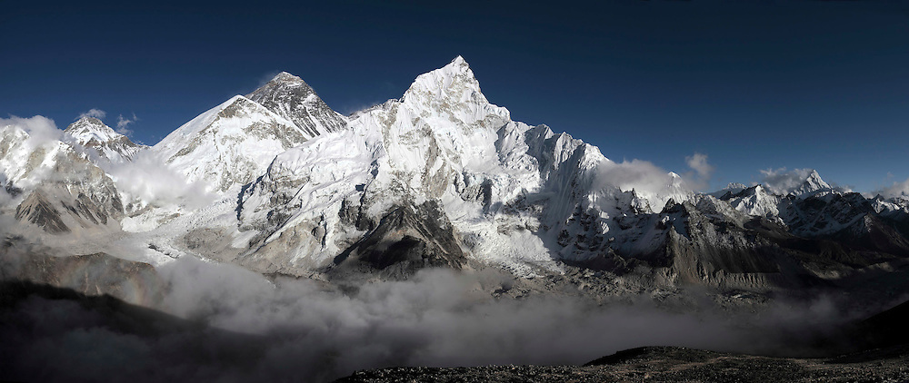 October 2009 Everest Commission WWF - Everest Range Himalayas - Everest is peak to the left of picture with snow blowing off top