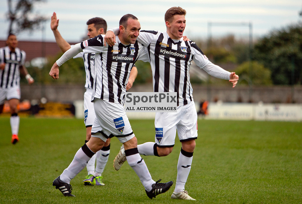 Stranraer v Dunfermline Athletic SPFL League One Season 2015/16 Stair Park 17 October 2015<br /> Michael Moffat celebrates making it 1-0 with David Hopkirk  <br /> CRAIG BROWN | sportPix.org.uk