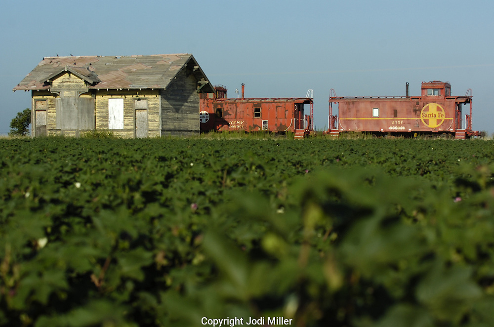 An old train sits along side an abandoned building in a cotton field near Lubbock, Texas.