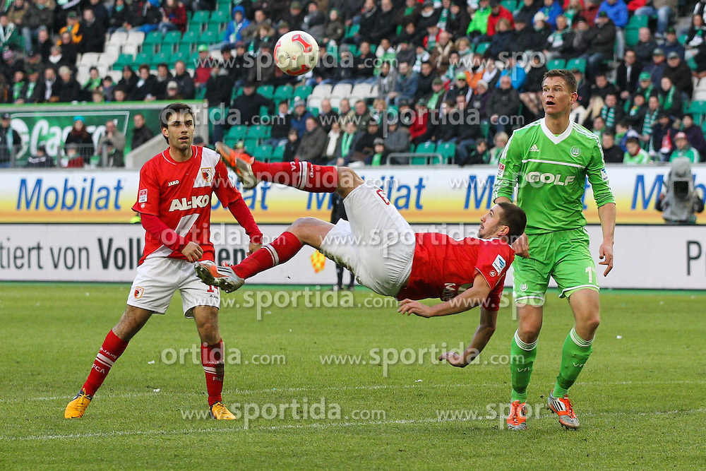02.02.2013, Volkswagen Arena, Wolfsburg, GER, 1. FBL, VfL Wolfsburg vs FC Augsburg, 20. Runde, im Bild Fallrueckzieher von Sascha MOELDERS #33 (FC Augsburg) // during the German Bundesliga 20th round match between VfL Wolfsburg and FC Augsburg at the Volkswagen Arena, Wolfsburg, Germany on 2013/02/02. EXPA Pictures © 2013, PhotoCredit: EXPA/ Eibner/ Kolbert..***** ATTENTION - OUT OF GER *****