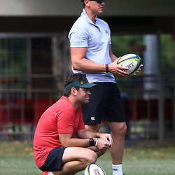 Johann van Graan Forwards Coach of South Africa with Pieter Kruger during The Cell C Sharks training session at Growthpoint Kings Park in Durban, South Africa. 28 March 2017(Photo by Steve Haag)<br /> <br /> images for social media must have consent from Steve Haag