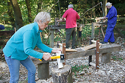 Volunteers at Bestwood Country Park, Nottinghamshire, part of Sherwood Forest, using pole lathe to turn green ie unseasoned wood: this craft was known as bodging; in foreground, chopping wood in preparation for turning.