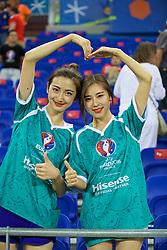 LYON, FRANCE - Wednesday, July 6, 2016: Hisense branding girls during the UEFA Euro 2016 Championship Semi-Final match between Portugal and Wales at the Stade de Lyon. (Pic by David Rawcliffe/Propaganda)