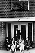 Group of students outside accommodation block, Keele University, UK, 1983