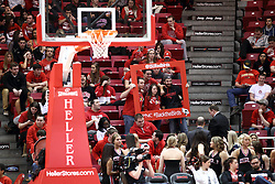 25 February 2015:  Red Alert student fan section  during an NCAA MVC (Missouri Valley Conference) men's basketball game between the Southern Illinois Salukis and the Illinois State Redbirds at Redbird Arena in Normal Illinois