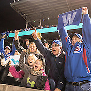 CHICAGO, IL - OCTOBER 30, 2016: Chicago Cubs fans cheer and wave Chicago Cubs Win flags in the stands after the Chicago Cubs defeat the Cleveland Indians during Game 5 of the 2016 World Series at Wrigley Field on October 30, 2016 in Chicago, Illinois. (Photo by Jean Fruth)