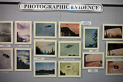 Photographic evidence display of UFOs, International UFO Museum and Research Center, Roswell, New Mexico, United States of America