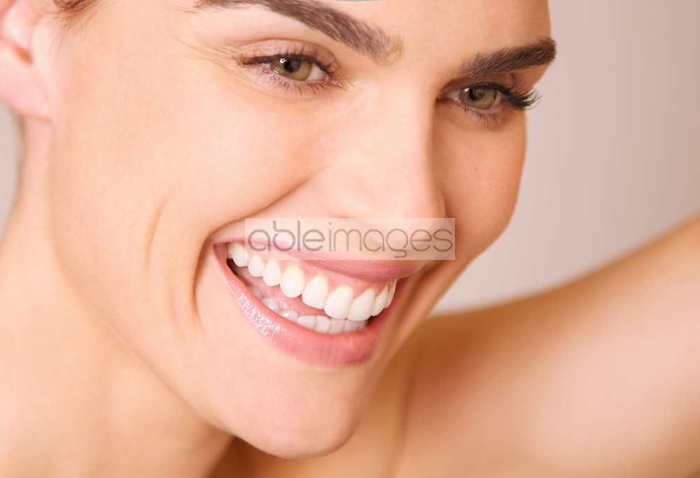 Smiling Woman's Face - Close-up view