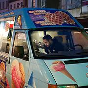 Ice cream truck at Brussels' Molenbeek neighbourhood, a hotbed of Islamic fundamentalism.