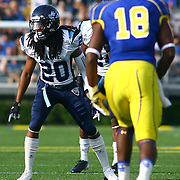 University of Maine cornerback Sherrod Baltimore (20) in second quarter of a Week 6 NCAA football game against Delaware.