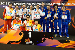 Podium CHN, RUS, UKR at 2015 IPC Swimming World Championships -  Men's 4x100m Medley Relay 34PTS