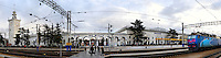 Stock photo of a Central railroad station in Simferopol The Crimea Ukraine Panoramic photo with original width 22000 pixels December 2007