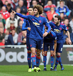 19.03.2017, Riverside Stadium, Middlesbrough, ENG, Premier League, FC Middlesbrough vs Manchester United, 29. Runde, im Bild Marouane Fellaini (27) of Manchester United celebrates scoring the opening goal // Marouane Fellaini (27) of Manchester United celebrates scoring the opening goal during the English Premier League 29th round match between FC Middlesbrough and Manchester United at the Riverside Stadium in Middlesbrough, Great Britain on 2017/03/19. EXPA Pictures © 2017, PhotoCredit: EXPA/ Focus Images/ Simon Moore<br /> <br /> *****ATTENTION - for AUT, GER, FRA, ITA, SUI, POL, CRO, SLO only*****
