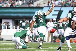 Oct 23, 2011; East Rutherford, NJ, USA; New York Jets place kicker Nick Folk (2) kicks a field goal during the first half at MetLife Stadium.