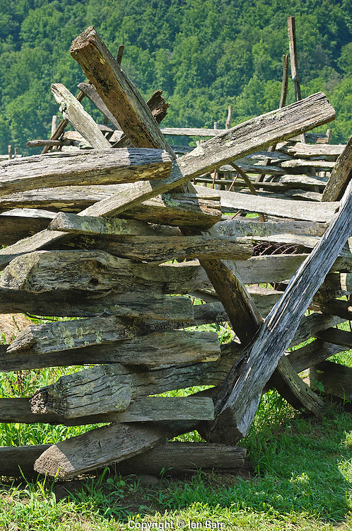 Zig Zag or Virginia rail fence at the Oconaluftee Mountain farm museum, North Carolina.