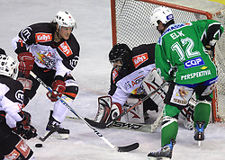 Ziga Svete, Goalkeeper of Jesenice Gaber Glavic and Todd Elik at 39th Round of EBEL League ice hockey match between HDD Tilia Olimpija and HK Acroni Jesenice, on December 30, 2008, in Arena Tivoli, Ljubljana, Slovenia. Tilia Olimpija won 4:3. (Photo by Vid Ponikvar / SportIda).