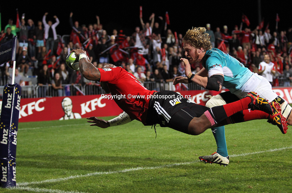 Nemani Nadolo of the Crusaders scores a try during the Investec Super Rugby game between the Crusaders v Cheetahs at AMI Stadium in Christchurch. 21 March 2015 Photo: Joseph Johnson/www.photosport.co.nz