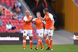 October 22, 2017 - Brisbane, QUEENSLAND, AUSTRALIA - Massimo Maccarone of the Roar (#9, left) celebrates a goal which was later disallowed during the round three Hyundai A-League match between the Brisbane Roar and the Newcastle Jets at Suncorp Stadium on October 22, 2017 in Brisbane, Australia. (Credit Image: © Albert Perez via ZUMA Wire)