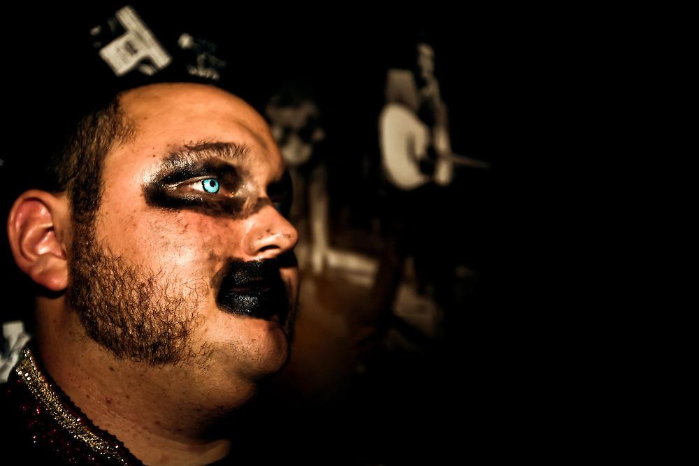 Zemezyz bassist takes break between sets at Retox Lounge in San Francisco, CA. Copyright 2009 Reid McNally.