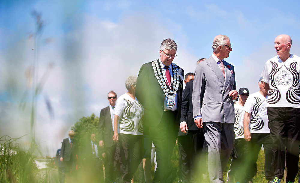 Prince Charles, Prince of Wales meets with a walking group after crossing the Te Rewa Rewa Bridge and walking the Coastal Walkway, New Plymouth, New Zealand, New Zealand, Monday, November 09, 2015. Credit:SNPA / Fairfax, Charlotte Curd  **POOL**