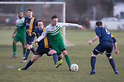 10/02/2018 - Docs Hibernia (green) v Parktool (blue and yellow) in the Dundee Saturday Morning Football League at Riverside, Dundee, Picture by David Young -