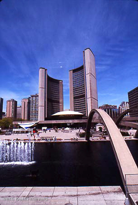 Toronto city hall across the water feature