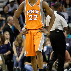 April 8, 2011; New Orleans, LA, USA; Phoenix Suns guard Zabian Dowdell (22) reacts during the fourth quarter of a game against the New Orleans Hornets at the New Orleans Arena. The Hornets defeated the Suns 109-97.   Mandatory Credit: Derick E. Hingle