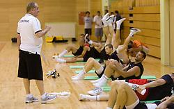 Head coach Bozidar Maljkovic talks to Goran Jagodnik during practice session of Slovenian National Basketball team during training camp for Eurobasket Lithuania 2011, on July 12, 2011, in Arena Vitranc, Kranjska Gora, Slovenia. (Photo by Vid Ponikvar / Sportida)