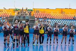 Players of RK Krim Mercator celebrate after handball match between RK Krim Mercator vs ZRK Zelene Doline Zalec of Super Cup 2015, on August 29, 2015 in SRC Marina, Portoroz / Portorose, Slovenia. Photo by Urban Urbanc / Sportida