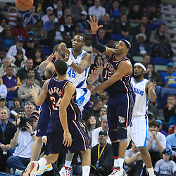 21 January 2009:  New Orleans Hornets guard Rasual Butler (45) passes the ball between a host of New Jersey Nets defenders during a 102-92 win by the New Orleans Hornets over the New Jersey Nets at the New Orleans Arena in New Orleans, LA. .