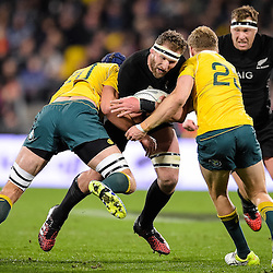 Kieran Read of the All Blacks is tackled by Dean Mumm and Reece Hodge during the Investec Rugby Championship match between the New Zealand All Blacks and the Australia Wallabies at Westpac Stadium in Wellington, New Zealand on Saturday, 27 August 2016. Photo: Marco Keller / www.lintottphoto.co.nz