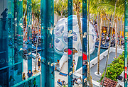 """A """"Fly's Eye"""" dome designed by Buckminster Fuller is the centerpiece of the Miami Design District's Palm Court shopping and concert space, here during a Miami Symphony Orchestra performance."""