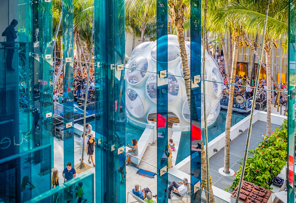 "A ""Fly's Eye"" dome designed by Buckminster Fuller is the centerpiece of the Miami Design District's Palm Court shopping and concert space, here during a Miami Symphony Orchestra performance."