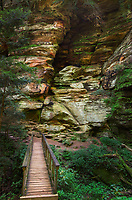 Exterior view of Rock House, the only true cave in Hocking Hills State Park, Ohio