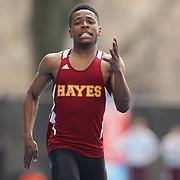 Robert Harris, Cardinal Hayes, winning the Boys 100 Meter Dash during the 2013 NYC Mayor's Cup Outdoor Track and Field Championships at Icahn Stadium, Randall's Island, New York USA.13th April 2013 Photo Tim Clayton