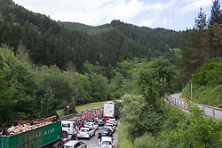 The peloton rides past the stopped traffic near Arrasate during Stage 3 of the Emakumeen Bira - a 77.6 km road race, starting and finishing in Antzuola on May 19, 2017, in Basque Country, Spain. (Photo by Balint Hamvas/Velofocus)