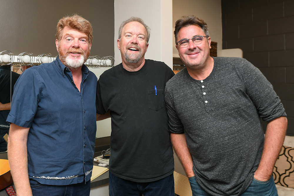 NASHVILLE, TN - JUNE 06: (EDITORIAL USE ONLY) Singer/songwriters Mac McAnally,Don Schlitz and Vince Gill pose for a photo backstage before CMA Songwriters Series Featuring Mary Chapin Carpenter, Vince Gill, Mac McAnally and Don Schlitz at CMA Theater at the Country Music Hall of Fame and Museum on June 6, 2018 in Nashville, Tennessee.