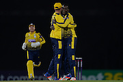 Hampshire T20 all-rounder Darren Sammy and captain James vince celebrate the wicket fo Kent All-Rounder Darren Stevens during the NatWest T20 Blast South Group match between Hampshire County Cricket Club and Kent County Cricket Club at the Ageas Bowl, Southampton, United Kingdom on 2 June 2016. Photo by David Vokes.