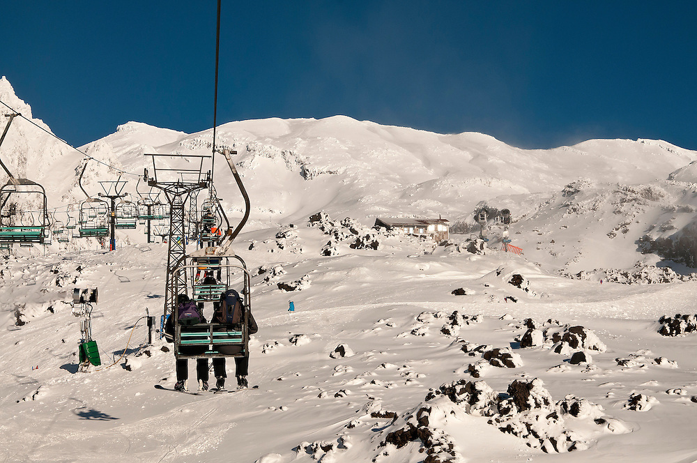 Skiers ride the Rock Garden chairlift for an early season run at Whakapapa, Ruapehu, New Zealand, Friday, June 29, 2012. Credit:SNPA / Malcolm Pullman.