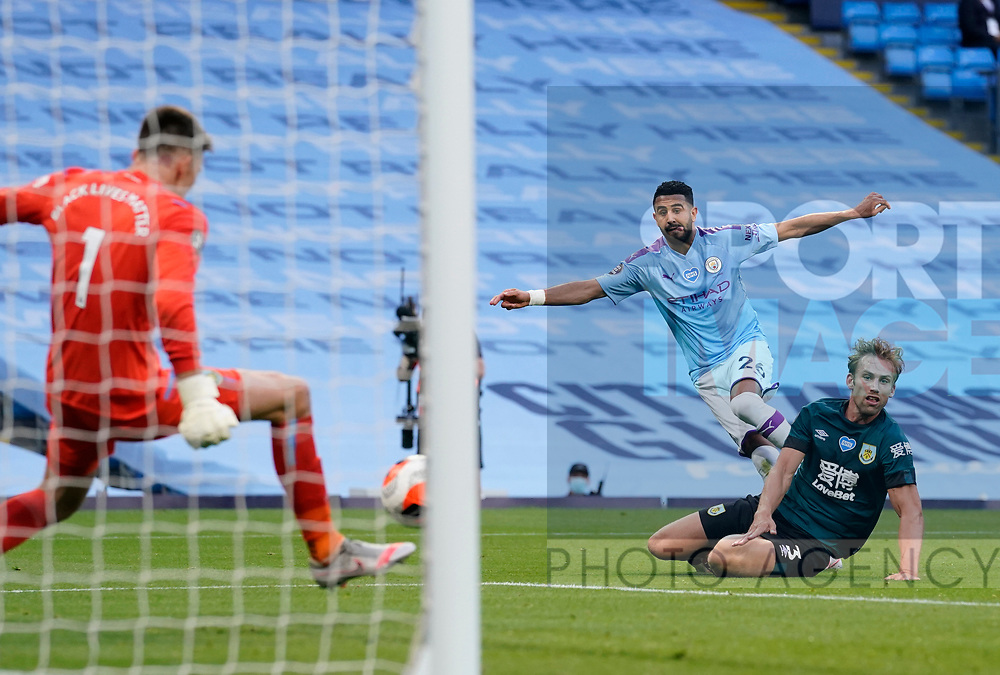 Riyad Marhez of Manchester City scores their second goal during the Premier League match at the Etihad Stadium, Manchester. Picture date: 22nd February 2020. Picture credit should read: Andrew Yates/Sportimage