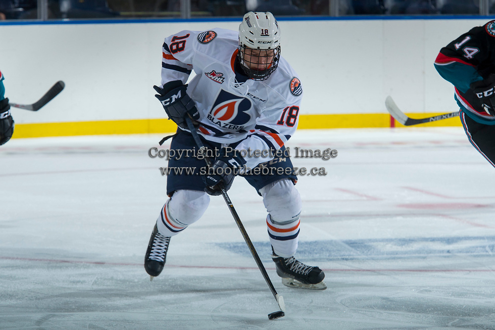 KELOWNA, CANADA - SEPTEMBER 5: Connor Zary #18 of the Kamloops Blazers skates with the puck against the Kelowna Rockets on September 5, 2017 at Prospera Place in Kelowna, British Columbia, Canada.  (Photo by Marissa Baecker/Shoot the Breeze)  *** Local Caption ***
